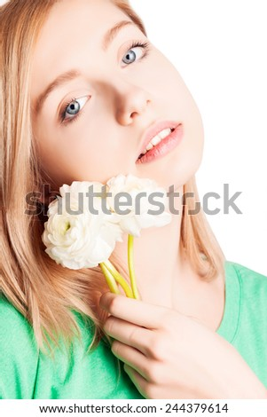 beautiful girl blonde with flower. Close-up.   - stock photo