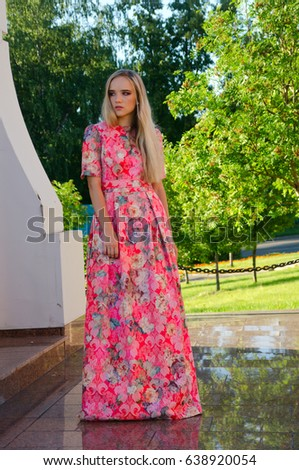 beautiful girl bright long dress