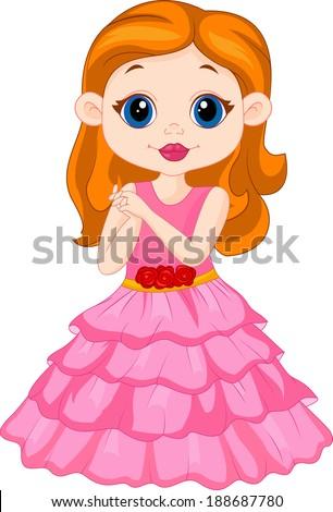 Beautiful girl cartoon - stock photo