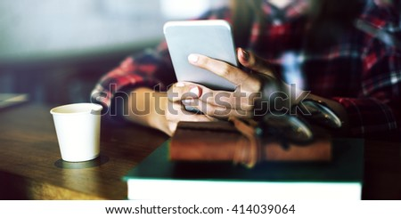 Beautiful Girl Checkered Shirt Mobile Phone Cafe Concept - stock photo