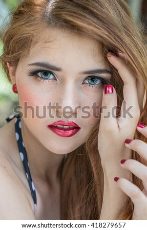 beautiful girl close up face