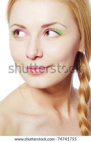 Beautiful girl close up portrait. Bright make-up. - stock photo