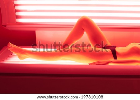 beautiful girl closeup collagen solarium - stock photo