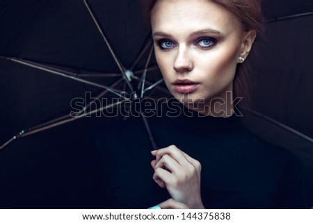 Beautiful girl color portrait outdoor - stock photo