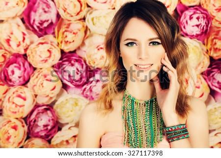 Beautiful Girl. Coloring Hair and Bright Makeup - stock photo