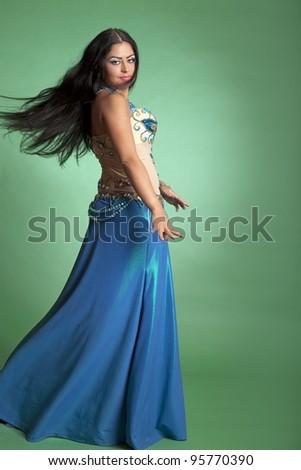 Beautiful girl dancer of Arabic dance - stock photo