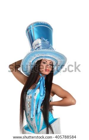 beautiful girl dancing in blue hat - stock photo