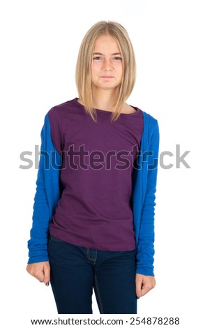 Beautiful girl doing different expressions in different sets of clothes: angry - stock photo