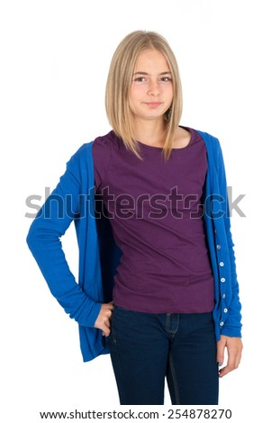 Beautiful girl doing different expressions in different sets of clothes: bored - stock photo