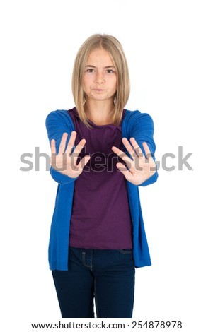 Beautiful girl doing different expressions in different sets of clothes: stop sign