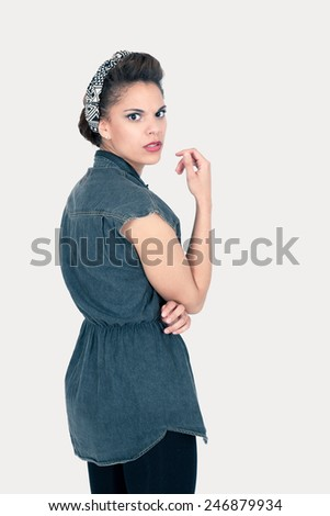 Beautiful girl doing expressions - stock photo