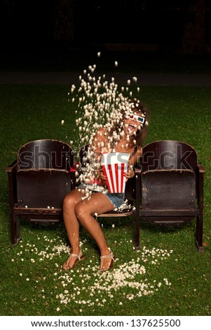 beautiful girl down his popcorn order to expose you scared