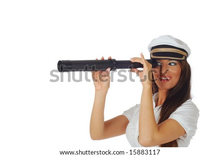 Beautiful girl dressed as a flight attendant/cruise hostess looking through a spotting glass, isolated on white