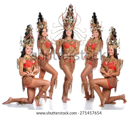 beautiful girl dressed as Thai dancers. dance moves. beautiful colorful costumes, vivid emotions - stock photo