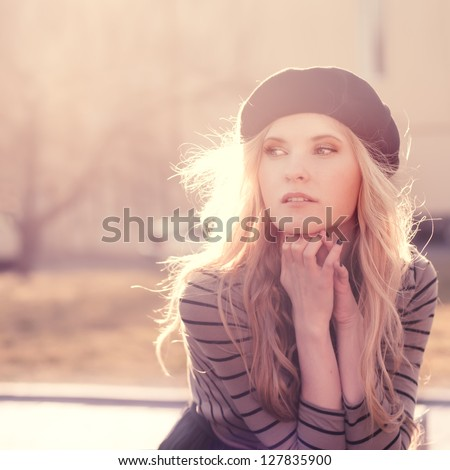 beautiful girl enjoying the sunny spring day - stock photo