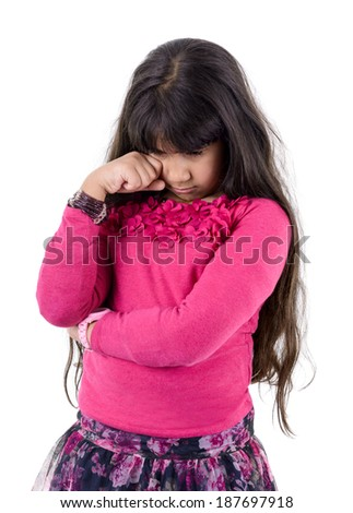 Beautiful Girl Expressing Sadness and Crying Isolated on White Background - stock photo