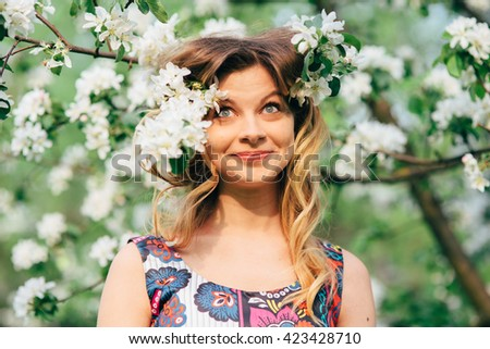 beautiful girl face grimaces and facial expressions - stock photo