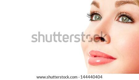 Beautiful Girl face. perfect eyelashes - stock photo