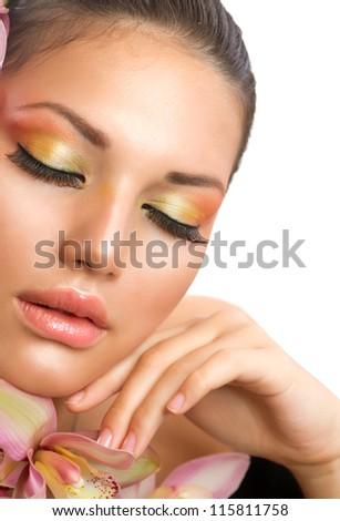Beautiful Girl Face.Perfect Makeup.Professional Make-up. - stock photo