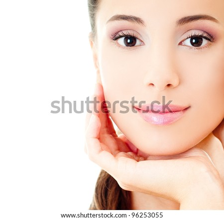 Beautiful Girl face. Perfect skin - stock photo