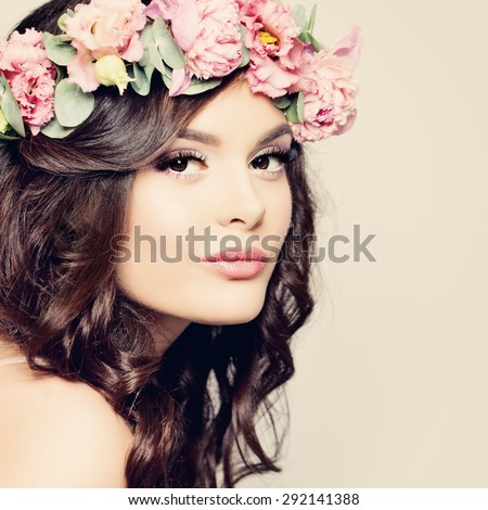 Beautiful Girl. Fashion Makeup and Hairstyle. Curly Dark Hair, Sexy Pink Lips. Beauty Fashion Portrait - stock photo