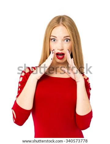beautiful girl. Female model. Surprised woman in studio - stock photo