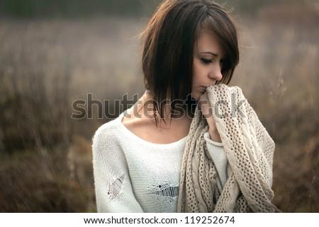 Beautiful girl freezing outdoor, autumn, cold - stock photo