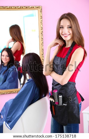 Beautiful girl hairdresser and client in beauty salon - stock photo