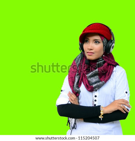 Beautiful girl happy with green screen