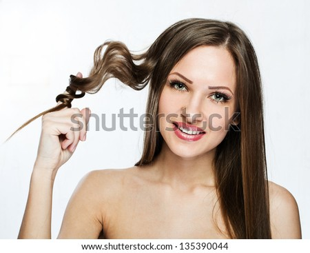 beautiful girl. healthy long hair. beauty model woman. - stock photo