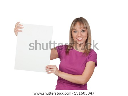 Beautiful girl holding a blank poster for advertising isolated on white background