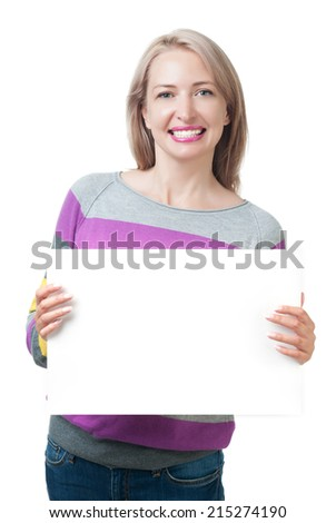 Beautiful girl holding a white plate isolated on white background