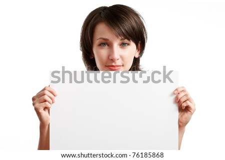 beautiful girl holding empty white board, on white background - stock photo