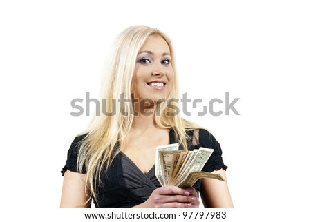 beautiful girl holding money