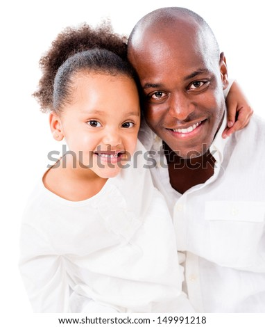 Beautiful girl hugging her father - isolated over a white background  - stock photo