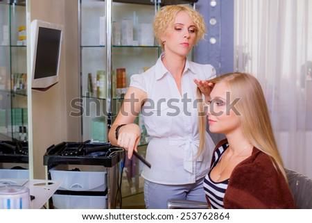 beautiful girl in a beauty salon  - stock photo