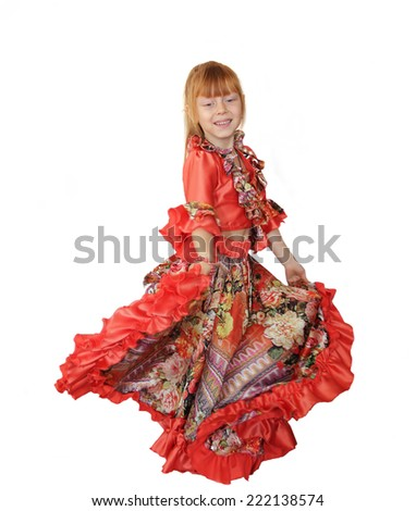 Beautiful girl in a Gypsy dress isolated on white background - stock photo