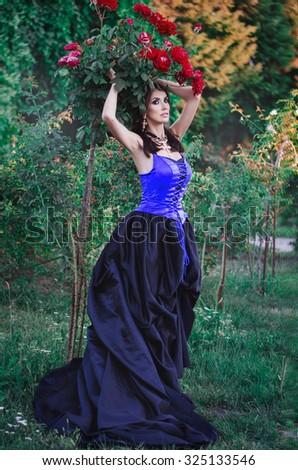 Beautiful Girl Long Dress Garden Stock Photo (Royalty Free ...