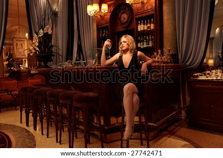 Beautiful girl in a luxury bar