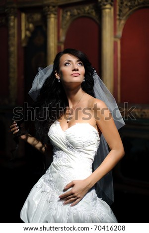 beautiful girl in a wedding dress with veil looking up