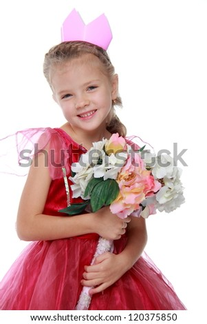 Beautiful girl in bright dress with colorful flowers on a white background/Lovely princess with flowers