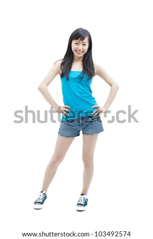 beautiful girl in casual style clothing on white background - stock photo