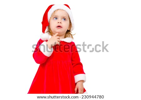 Beautiful girl in Christmas costume made a wish while holding a finger under his chin on white background - stock photo