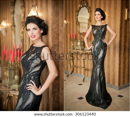 Beautiful girl in elegant black dress posing in vintage scene. Young beautiful woman wearing luxurious dress. Seductive brunette woman in luxury manor. Gorgeous lady with creative haircut smiling - stock photo
