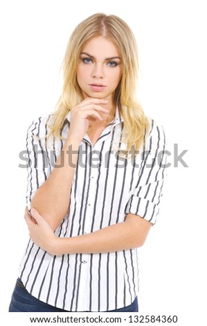 beautiful girl in fashion style - stock photo