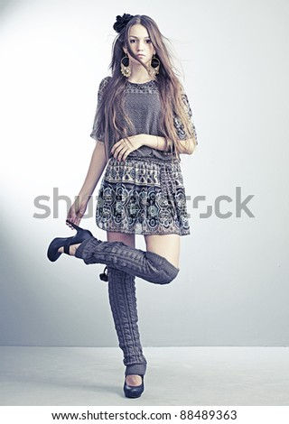 beautiful girl in fashionable clothes - stock photo
