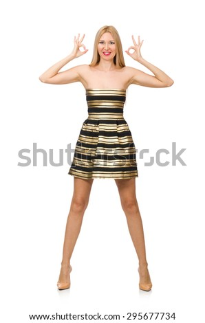 Beautiful girl in gold and black dress isolated on white - stock photo