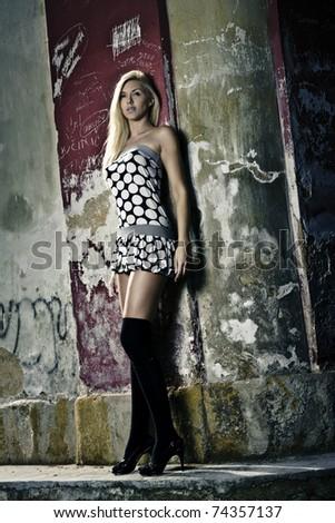 beautiful girl in mini dress - stock photo