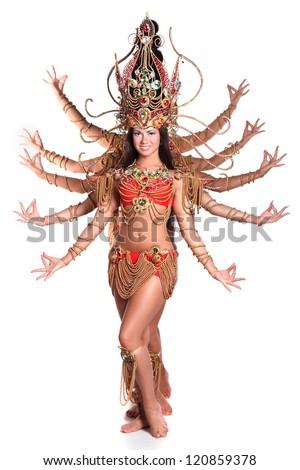 beautiful girl in national dancing dress - stock photo