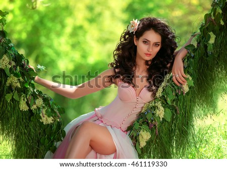 beautiful girl in pale pink dress with black curls sitting in the grass in the middle of the jungle hammock, Tropicana with flower, hip toning, creative color